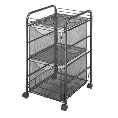 Rebrilliant Caiden Mesh Mobile Double File Cart In 2020 Craft Storage Cart Storage Cart Rolling File Cabinet