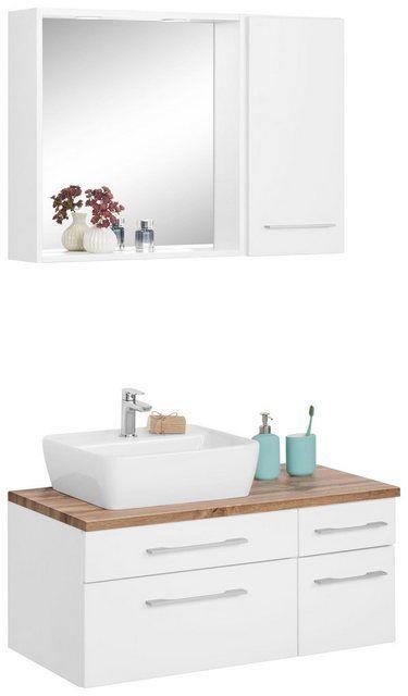 Waschtisch Set Davos Set 3 Tlg Mit Hangeschrank Und Spiegel
