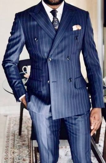 Blue 2 Button Tailored Modern Pinstripe Mens Suit