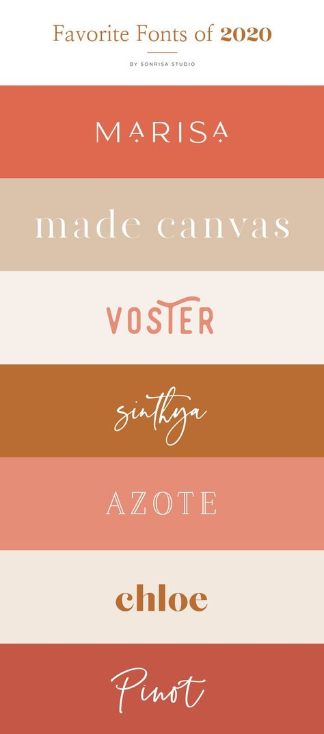 These are my favorite fonts so far this year. These fonts are perfect for your branding or logo design. These fonts and font combination stand out in the crowd. From unique serifs to rounded sans-serifs to beautiful script fonts, I have complied my list of favorite fonts for 2020. #fonts #fontcombinations #fontdesigner #2020fonts #typeface #typography #favoritefonts #fontdesign #brandingfonts #branding #logodesign #brandstylist Font Design, Typography Design, Branding Design, Web Design, Brand Logo Design, Branding Ideas, Corporate Branding, Vector Design, Logo Branding