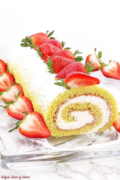 Strawberry Vanilla Swiss Roll Recipe - Valya's Taste of ...