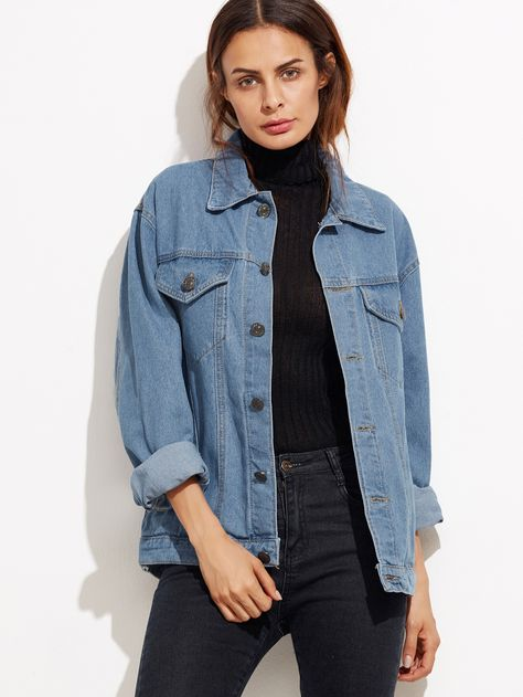 5534535b98 Shop Blue Button Front Pockets Denim Jacket online. SheIn offers Blue  Button Front Pockets Denim Jacket & more to fit your fashionable needs.