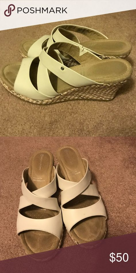 Rockport White and Tan Wedges Comfy wedges only worn a couple of times! Excellent quality and cute with sundresses or jeans! Rockport Shoes Wedges