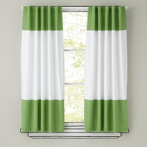 Kids Curtains: Green and White Curtain Panels in Curtains & Hardwares | The Land of Nod