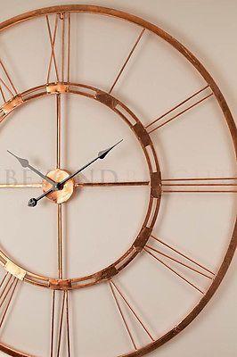 Gardenclock Black Wall Clock Large Metal Wall Clock Silver Wall Clock Large copper wall clock