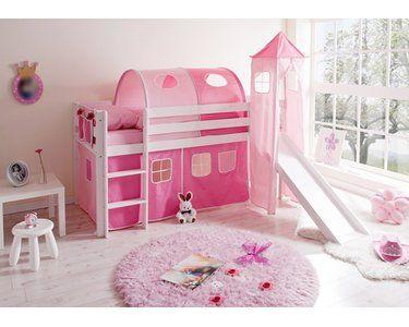 Hochbett Mit Rutsche Und Turm Kiefer Weiss 90 Cm X 200 Cm Rosa Pink