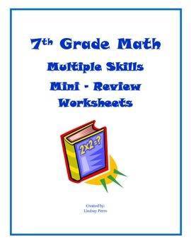 This 24 page review was made for 7th grade Pre Algebra students, but would be a great review for any grade! Skills covered are Data, Integers, Frac...