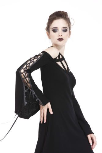 Dark In Love DW174 Pentagram Mini Dress Black Gothic Casual Witchy Long Sleeves