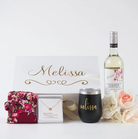 #sponsored Luxury Bridesmaid Gift Box (Personalized Robe, Wine Cup, Wine Label) - Bridesmaid Gifts Boutique #wedding #weddingideas #weddingplanning #engaged #bridetobe #bridesmaids #bridesmaidproposal #bridesmaidgift