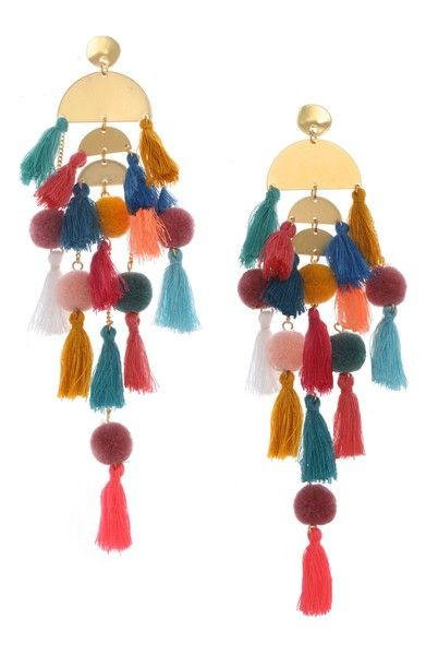 Bright Tassel Earrings Tassel Earrings Gold Bold Tassels Half Moon Tassels Tassel Earrings Black 7 Colors to Choose From