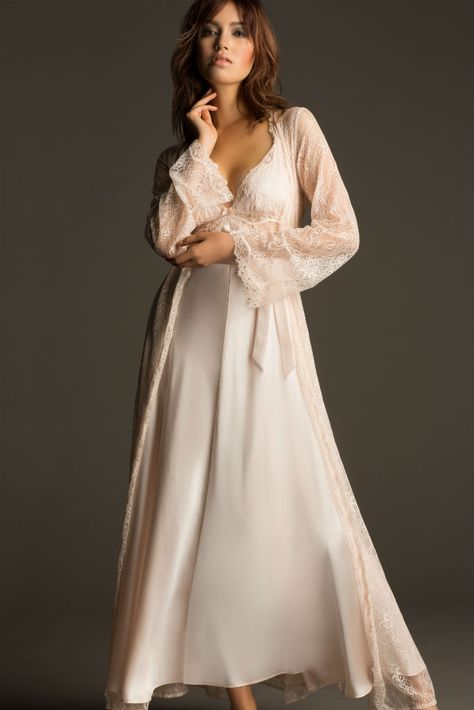 Introducing NK iMode: Silk Nightwear and Bridal Lingerie - This sweeping silk and lace gown and robe in the prettiest shade of shell pink is so glamorous.