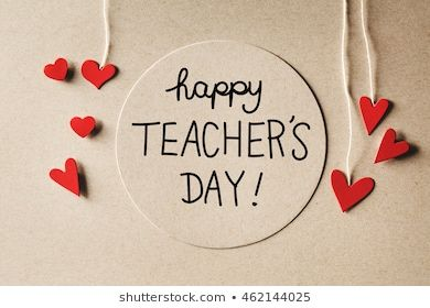 Happy Teachers Day Message With Handmade Small Paper Hearts Thiệp