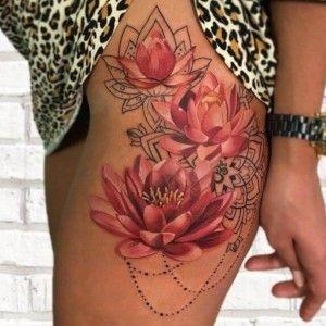 Tatuaje De Flores De Loto En La Pierna Tatuajes En El Muslo De Flor Tatuajes Delicados Tatuaje En Cicatriz