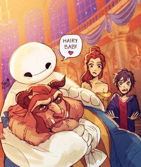 disney My art beauty and the beast Big Hero 6 maby-chan mabychan baymax Hairy Baby Disney Pixar, Disney Animation, Disney Magic, Disney And Dreamworks, Disney Films, Disney Art, Walt Disney, Disney Stuff, Cute Disney Characters