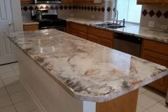 Leggari Epoxy Countertops Pearl White Base Copper Titanium Highlights With Images Epoxy Countertop Countertops