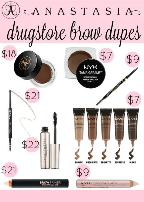 If you're just getting into brow make-up or just tired of the dent it causes in your wallet, here are a few of the best Anastasia brow drugstore dupes.