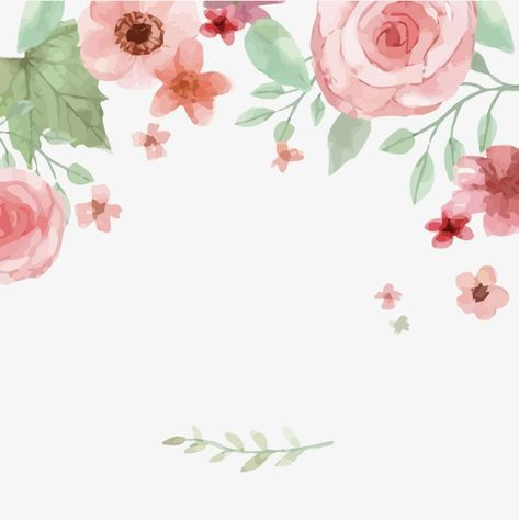 Watercolor Pink Wedding Flowers Border Background In 2020 Flower