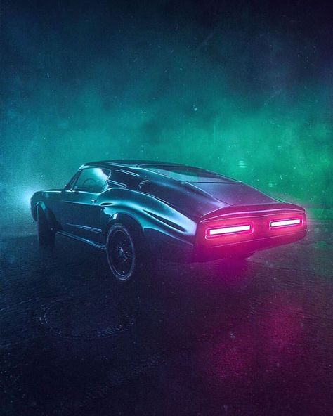 Oldschool American Muscle Car 3D ART digital artwork Stop Lambs  synthwave new retro wave retrowave