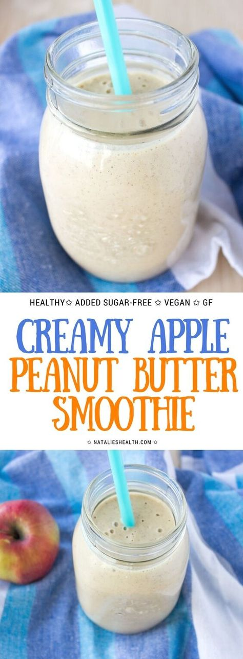 Creamy Apple Peanut Butter Banana Smoothie is the perfect HEALTHY breakfast. It's loaded with nutty peanut flavor and many nutrients, all natural, refined and added sugar-free. Perfectly yummy! #smoothie #breakfast #kidfriendly #fitfood #healthyfood #healthyrecipes #healthysmoothie #healthy #sugarfree #vegan #glutenfree #weightlossrecipe #weightloss | NATALIESHEALTH.com