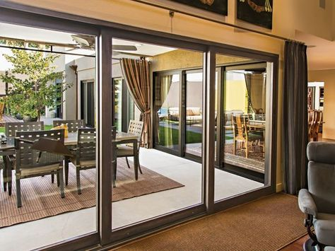 Large Black Sliding Gl Doors That Lead From The Inside