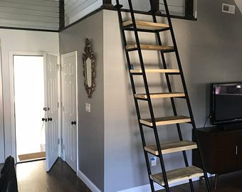 10ft Loft Ladder Librarian Free Shipping To Your Door Etsy In 2020 Loft Ladder Ladder Wood Ladder Shelf
