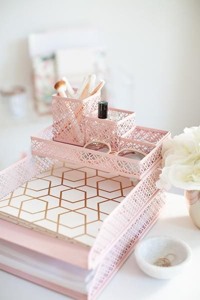 Admirable Pink Office Supplies Desk Organizer 6 Piece Interlocking Beutiful Home Inspiration Xortanetmahrainfo
