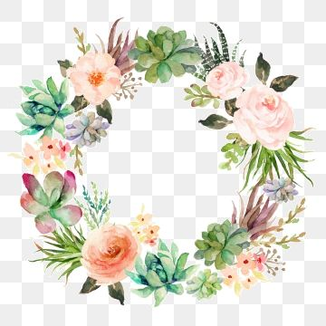 Beautiful Hand Paint Watercolor Floral Wreath Flower Flowers