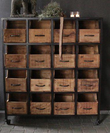 Wonderbaar Stalen kast met houten lades/bakken | Kast lades, Houten, Houten JR-26