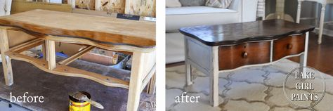 Lake Girl Paints: Old Dresser turns Coffee Table