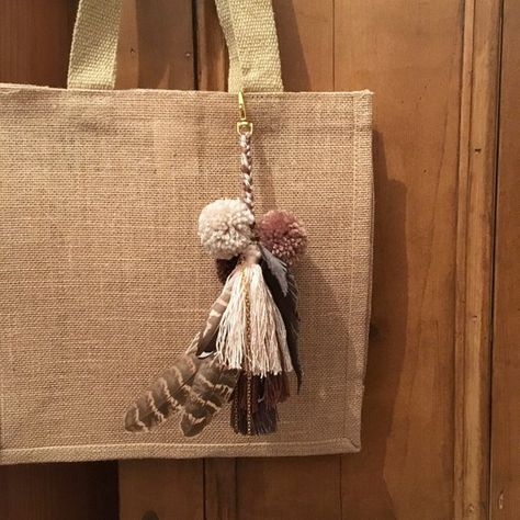Boho keychain Pom pom bag charm Tassel keychain Purse Charm Leather  keychain Feather charm Tassel clip Pompom keyring Brown bag charm Best 7db4ba25cdf36
