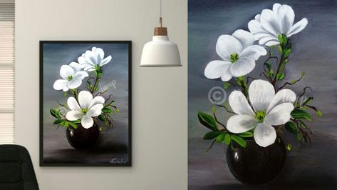 Acrylic Painting Beautiful And Easy White Flower Painting On