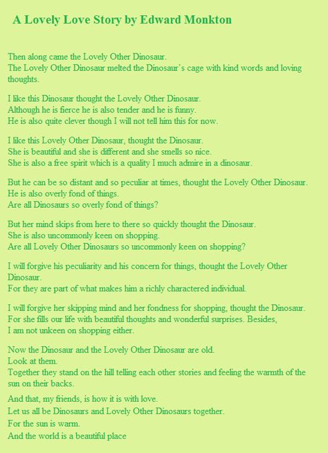 A Lovely Dinosaur Love Story By Edward Monkton Ceremony Readings Pinterest