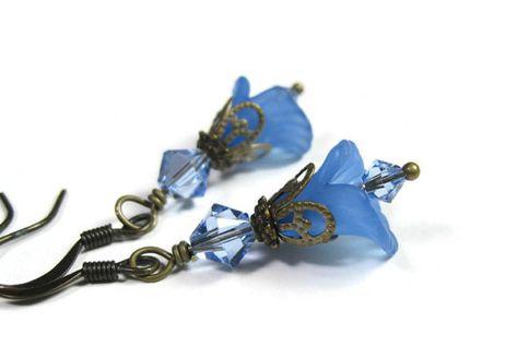 Blue Flower Earrings Floral Jewelry Pantone Niagara
