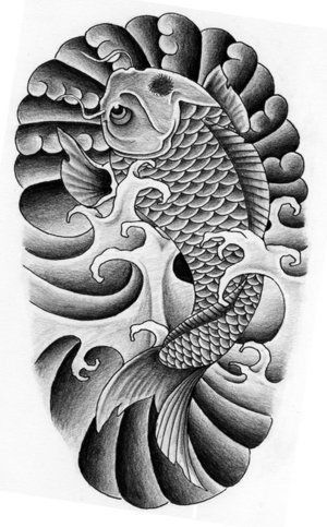 Traditional Black And White Koi Fish Tattoo Design Japanese Koi Fish Tattoo Koi Fish Tattoo Japanese Tattoo Designs
