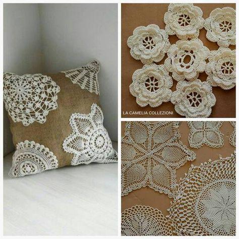Uncinetto Shabby.Uncinetto Crochet Centrini Per Cuscini Stile Shabby Chic Cuscini Shabby E Shabby Chic
