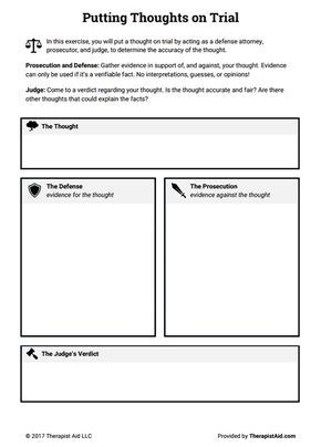 Cognitive Restructuring Thoughts On Trial Worksheet Therapist Aid Therapy Worksheets Cbt Worksheets Therapy Counseling