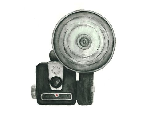 8x10 - vintage camera with flash watercolor print. $18.00, via Etsy.