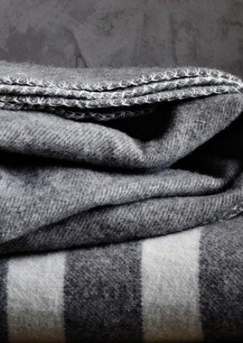 Gray wool blankets.