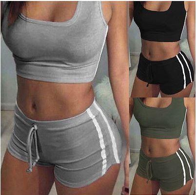 Women 2PCs Crop Tops Shorts Pants Ladies Summer Outfits Set Gym Tracksuit Jogger
