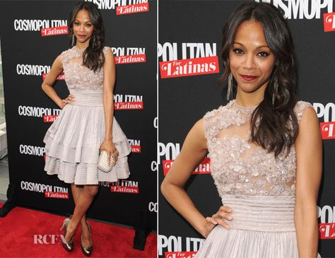 Zoe Saldana In Elie Saab Couture - Cosmopolitan For Latinas' Premiere Issue Party - Red Carpet Fashion Awards
