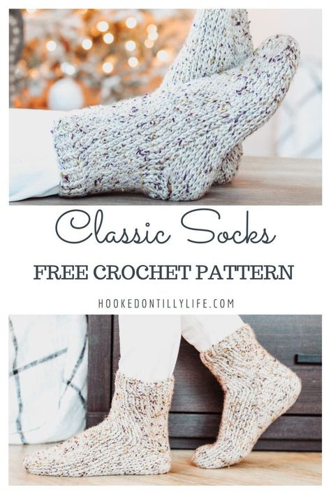 free crochet pattern, crochet socks, classic crochet sock pattern, easy socks, learn to crochet - Knitting Easy Crochet Socks, Crochet Sock Pattern Free, Crochet Gratis, Quick Crochet Gifts, Crotchet Socks, Free Crochet Slipper Patterns, Crochet Socks Tutorial, Quick Crochet Patterns, Ravelry Crochet