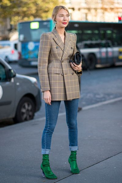 Plaid Double-Breasted Blazer - Ridiculously Chic Street Style at Paris Fashion Week - Photos