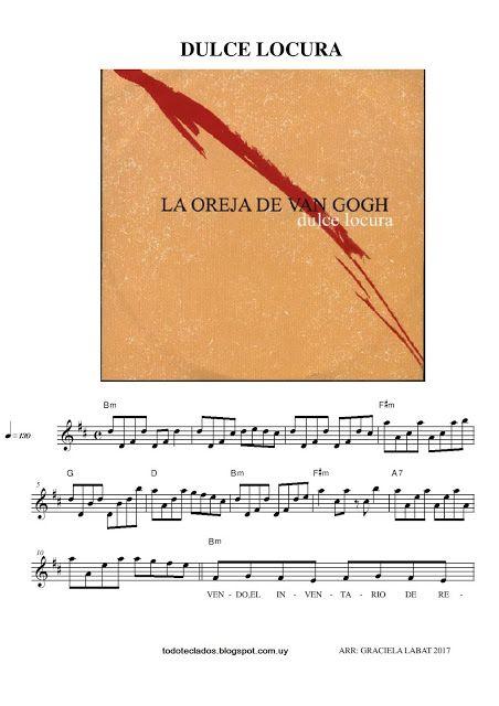 Dulce Locura La Oreja De Van Gogh Musica Partituras Dulces Partituras