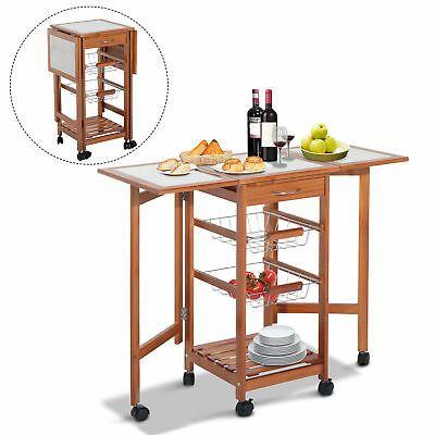 Homcom Portable Rolling Tile Top Drop Leaf Kitchen Trolley Cart For Sale Online Ebay In 2020 Kitchen Storage Drop Leaf Kitchen Island Wooden Storage Shelves