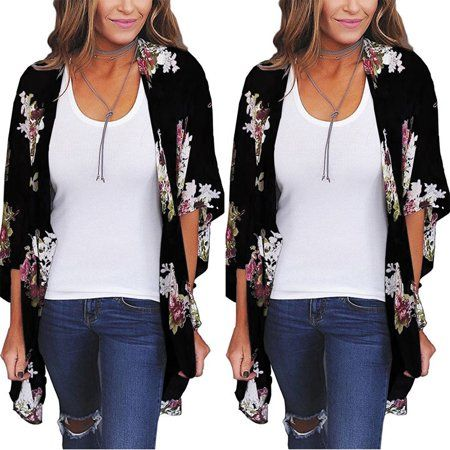 5336950e66c955 Hirigin - Women Floral Loose Shawl Vintage Kimono Cardigan Boho Chiffon  Coat Jacket Blouse Black Size S - Walmart.com