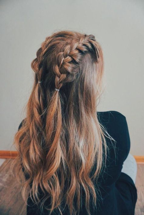 Two Dutch Braids On Top Of Head Going Straight Back Into Ponytails With The Rest Of Hair Down Medium Length Hair Styles Hair Lengths Diy Hairstyles Easy