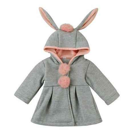 f041779bba05 Baby Girls Bunny Ears Hooded Coat