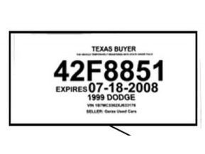 Texas Temporary License Plate Printable Tags Template