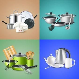 Baixe Composicoes De Ferramentas De Cozinha Realistas Gratuitamente Imagens De Limpeza Utensilios De Cozinha Cozinha