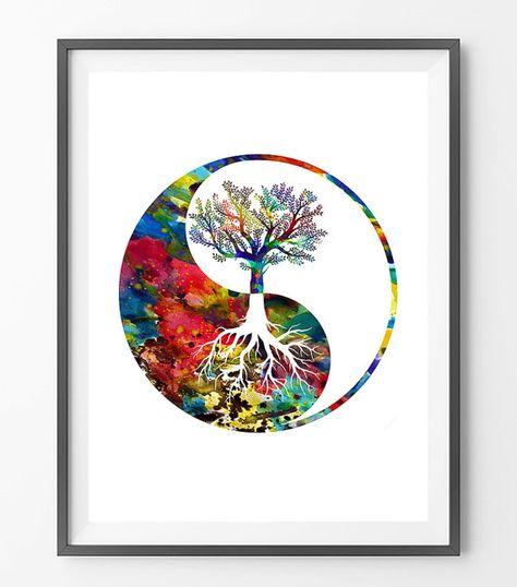 Yin Yang tree watercolor print, yin yang tree symbol Illustration